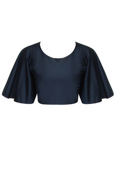 Midnight blue bell sleeves crop top available only at Pernia's Pop-Up Shop.