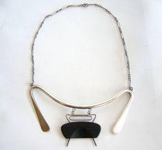 Irvin and Bonnie Burkee Sterling Silver Wood Abstract Necklace