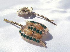 Green Rhinestone Hair Pins Gold Flower Hair Pins by TheButtonBird