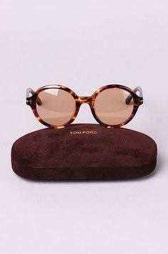 4f56670e0cb Tom Ford - Brown Round Frame Sunglasses - Lyst