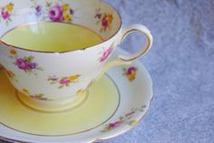 SHELLEY/Yellow Floral/Collectible/vintage bone china, shabby chic on Etsy, $63.10 CAD