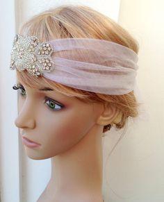 Great Gatsby headpiece, Gatsby Inspired, Tulle headpiece, tulle headband, Rhinestone headpiece, rhinestone veil, veil headpiece