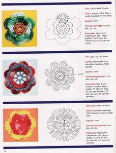 patrones de flores en crochet - Buscar con Google