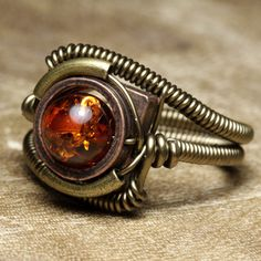 Steampunk Amber ring by *CatherinetteRings on deviantART