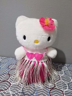 "Hula Dance Hello Kitty 2001 8"" Plush  (Responds to Music & Sound) by Sanrio RARE"