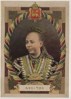 Taitu, Empress of Ethiopia from 1889 to 1913. She was a military strategist who initiated the War of Adwa when she discovered Italy's plot to colonise Ethiopia. She led her own battalion alongside her husband, Emperor Menelik II, and the Imperial Army, defeating the Italians.
