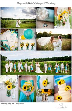 A lovely vineyard wedding boasting of turquoise & yellow details.  Sunflowers galore!