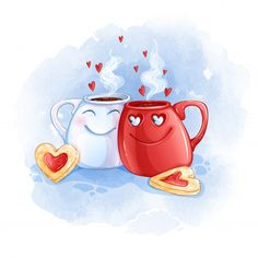 Two Cups In Love With Hot Tea And Heart-shaped Cookies. Valentines Illustration, Illustration Noel, Illustrations, Love Heart Illustration, Art Drawings For Kids, Cute Drawings, Cute Cartoon, Cartoon Art, Valentines Day Drawing