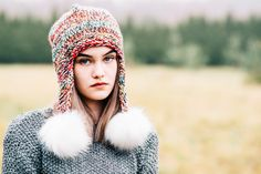 Colorful beanie  Colorful pompom hat   by Isabellwoolstudio