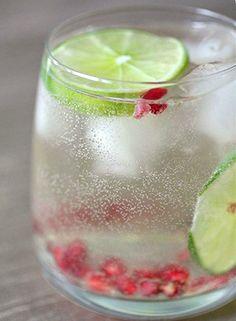 Pomegranate & lime white wine spritzer