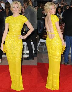 Elizabeth Banks Canary Yellow Sequined Bill Blass Dress The Hunger Games London European Premiere