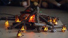 Fun faux campfire! I like the little battery-powered tea lights. Kids glue on rocks and sticks to make it look like a campfire.
