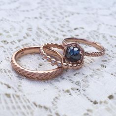 Grey Rose Cut Diamond Hexagon Engagement Ring with Wedding Bands in rose gold | Kristin Coffin Jewelry