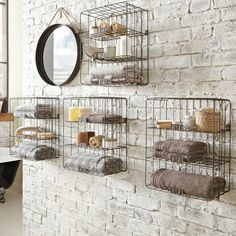Creative storage ideas industrial bathroom via housetohome www. Creative storage ideas industrial bathroom via housetohome www. Design Hotel, Villa Design, Industrial Bathroom, Industrial House, Rustic Industrial, Modern Bathroom, Industrial Shelving, Industrial Design, Wire Shelving
