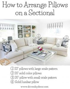 Home Decor White Great post about how to arrange pillows on sofas and sectionals and other great pillow tips!Home Decor White Great post about how to arrange pillows on sofas and sectionals and other great pillow tips! Home Living Room, Apartment Living, Living Room Designs, Living Room Furniture, Living Room Decor, Living Room Pillows, Living Room Sectional, Family Room With Sectional, Family Rooms
