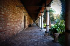 Strolling the royal grounds at Topkapi Palace in Istanbul.