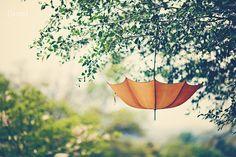 "Orange Umbrella - Whimsical - Dreamy - Home Decor  - Shabby Cottage Decor - Baby Nursery - Fine Art Photograph - ""Orange Umbrella"""