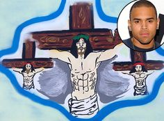 """Chris Brown posts picture of Jesus on cross after allegedly punching Frank Ocean with the caption: """"Painting the Way I Feel Today""""    **Now that's funny**     Can someone show me where it is in the Bible it shows Jesus punching someone, leaving them with a black eye and split lip, while yelling I am going to really kill you now?"""