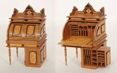 1:12 Wooton Cylinder Top Rotary Desk from Gideon Wolf of Wild Wolf Miniatures, Montana