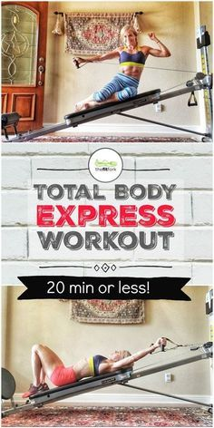 Get a quick, comprehensive sweat session with my Total Body Express Workout. It takes just 20 minutes (including 5 min for mobility) and targets nearly every. Total Gym Workouts, Gym Workouts Women, Fit Board Workouts, Daily Exercise Routines, Gym Routine, Fitness Diet, Health Fitness, Home Gym Equipment, Body Weight