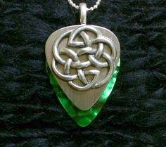 Silver Green Celtic Knot guitar pick pendant $26 Contact us thru website