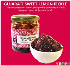 Gujarati Sweet Lemon Pickle from Delight Foods, Lemon Pickle, Indian Contemporary Art, Special Recipes, Indian Art, Pickles, Tasty, Paintings, Sweet, Crafts