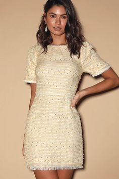 Your crush's eyes are sure to light up when they see you in the Lulus Truly Dazzled Cream Pearl Tweed Mini Dress! Dress with white pearls and fringe trim. Black And White Cocktail Dresses, Cute Cocktail Dresses, Womens Cocktail Dresses, Party Dresses For Women, Cute Dresses, Beautiful Dresses, Wedding Dresses, Comfortable Outfits, Casual Outfits