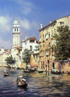 Painting by artist Mikhail Satarov from the genre of Venice - Sunny Venice Venice Painting, Boat Painting, Italy Painting, Art Watercolor, Watercolor Landscape, Italian Paintings, Buch Design, Mary Cassatt, Venice Travel