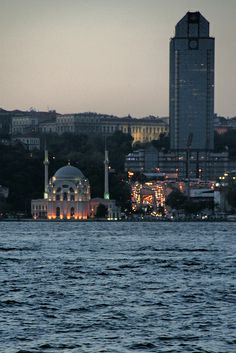 Dolmabahçe Mosque and The Ritz Charlton across the Bosphorous - Istanbul, Turkey