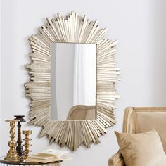 Celestial Gold Mirror by Modish Living. A beautiful starburst frame surrounds the long mirror making this versatile piece perfect for bedroom, living room or hallway.