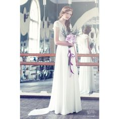 Sample sale Lace and silk wedding dress with a train, Only one size!... ($395) ❤ liked on Polyvore featuring dresses and wedding dresses