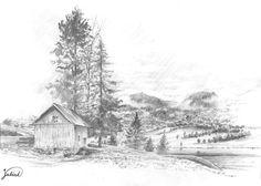 Landscape based on photo, A4