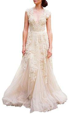 ee5c52d4e17 ASA Bridal Women s Vintage Cap Sleeve Lace A Line Wedding Dresses Bridal  Gowns Champagne 14 Boho