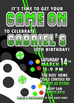 Details About Video Game Game Truck Personalized Printed - Birthday invitation video
