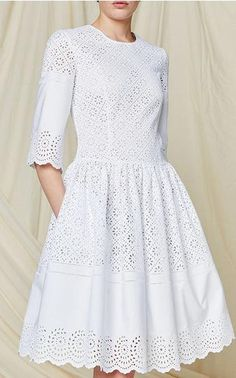 This lace **Philosophy di Lorenzo Serafini** dress is rendered in cotton poplin and features an a-line silhouette with a jewel neckline, bracelet length sleeves, and scalloped edges.Casual - Dresses Philosophy Di Lorenzo Serafini Women on Alberta Fer Modest Dresses, Day Dresses, Pretty Dresses, Casual Dresses, Short Dresses, Summer Dresses, Knee Length Dresses, Modest Fashion, Fashion Dresses