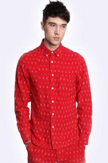 Worland Red Ikat Shirt