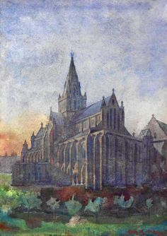 Charles Rennie Mackintosh Glasgow Cathedral at Sunset,1890(watercolour)
