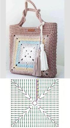 Crochet Motif Patterns, Crochet Basket Pattern, Crochet Tote, Crochet Handbags, Crochet Purses, Diy Crochet, Crochet Stitches, Crochet Bag Tutorials, Crochet Basics