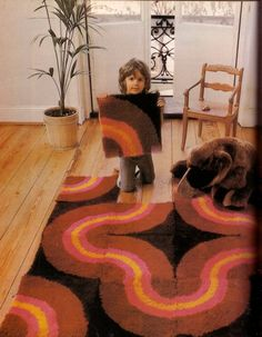 amazing latch hook rug from the 70s I like the idea of being able to change the pieces around which changes the pattern.