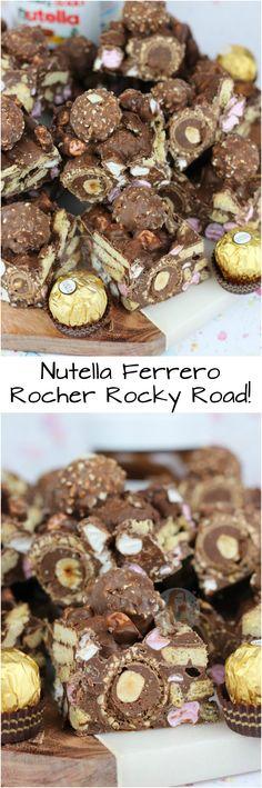 Easy No-Bake Nutella Rocky Road with Ferrero Rocher, Hazeln… Nutella Rocky Road! Easy No-Bake Nutella Rocky Road with Ferrero Rocher, Hazelnuts, Digestives, Marshmallows and Nutella! Tray Bake Recipes, Baking Recipes, Cake Recipes, Dessert Recipes, Baking Ideas, Ferrero Rocher, Yummy Treats, Delicious Desserts, Sweet Treats