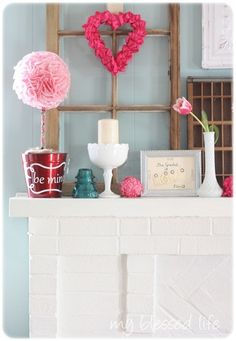 Adorable Valentine's Mantle, from MyBlessedLife.net via Southern Hospitality.  Thanks, Rhoda!