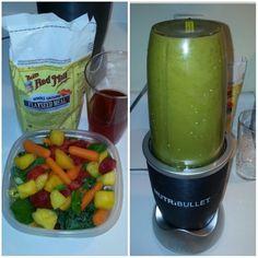 #NutriBullet #NutriBlast #BreakfastIsServed #kale, #spinach, #strawberries, #mango, #peaches, #carrots, #pineapple, #orange spice herbal tea & #flax meal