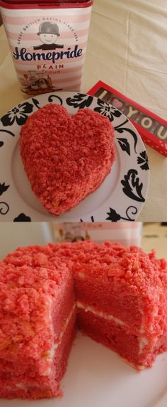 Sarah Cooper made this pink velvet cake for her husband. She hand carved the sponge into a heart shape then crumbed the off-cuts to add texture to the outside. Valentine Cake, Valentines, Pink Velvet Cakes, Cake Competition, Vanilla Cake, Hand Carved, Clever, Muffin, Husband