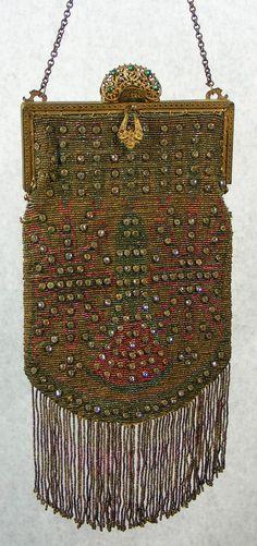 Art Deco Antique Art Nouveau Gold T Frame Hand Knit Brown Iridescent Bead Fringe Purse Top Watermelons