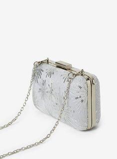 b002096807 Womens Silver Sequin Lace Box Clutch Bag- Silver