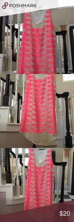 Neon Pink Sequin Mini Dress Needs cleaning Ark & Co Dresses