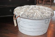 One-of-a-kind wash-tub, painted and distressed, tufted cocktail storage ottoman, nail-head trim
