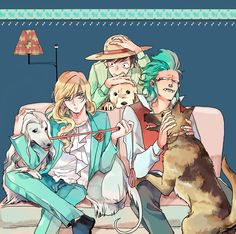 "Cavendish (Cabbage), Bartolomeo, & Luffy of One Piece (""ワンピログ collection"" by Luzy on pixiv.net)"