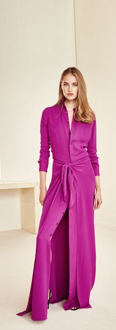 Ralph Lauren Collection Pre-Spring 2016: Pairing the sharp look of a shirtdress with the chic elegance of a sarong-inspired overlay at the skirt, this floor-skimming style is a stunning choice for evening. In gorgeous Berry-hued Italian silk, it feels as luxuriously lightweight as it looks.