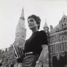 Jackie Kennedy on the Georgetown campus in May 1954.